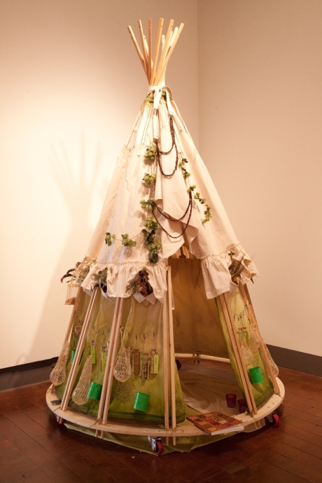 Traveling SeedBomb dress set up in Begovich Gallery